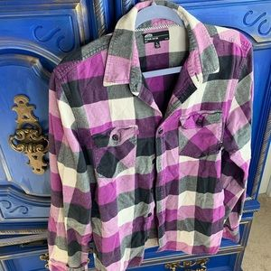 Vans Off The Wall Flannel Plaid Button Up Shirt LG